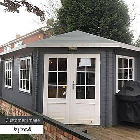 Waltons 5m x 3m Right Sided Lodge Grande Corner Log Cabin