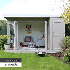 x  waltons contemporary summerhouse with side shed rh