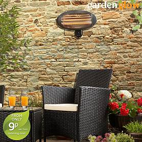 2000W Wall Mounted Patio Heater - Graphite