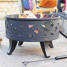 Campeche Steel Xl Firepit With Grill