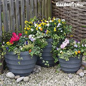 garden grow set of three pebble planter