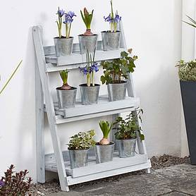 garden grow threetier folding plant stand  light grey  medium