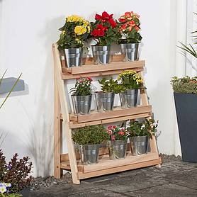 garden grow threetier folding plant stand  natural  large