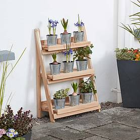 garden grow threetier folding plant stand  natural  medium