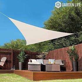 Garden Life 3.6-Metre Triangle Waterproof Sun Shade Sail - Cream