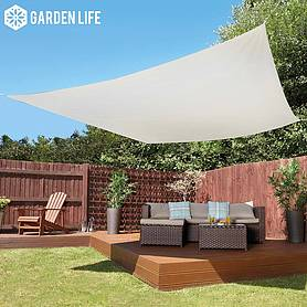 Garden Life 3-Metre Square Waterproof Sun Shade Sail - Cream