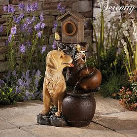 Serenity Labrador with Tipping Pots Water Feature