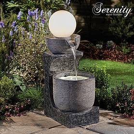 Serenity Bowl Water Feature with Globe Light