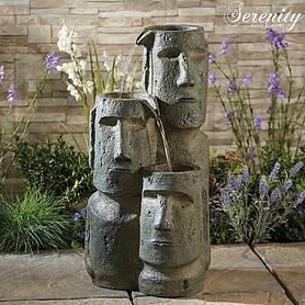 Serenity Easter Island Head Cascade Water Feature