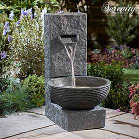 Serenity Stone-Effect Cascading Water Bowl Water Feature