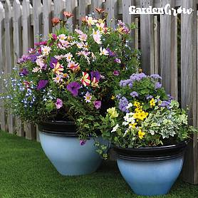 Garden Grow Set of Two Glazed Effect Planters