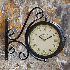 Wyegate Dual-sided Swirl Garden Clock and Thermometer