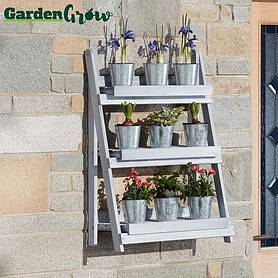 Garden Grow Three-Tier Folding Plant Stand - Light Grey - Medium