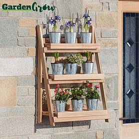 Garden Grow Three-Tier Folding Plant Stand - Natural - Medium