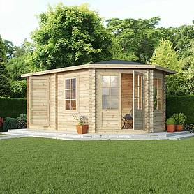 Waltons 5m x 3m Right Sided Lodge Plus Corner Log Cabin