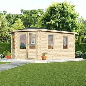 Waltons 5m x 3m Left Sided Lodge Grande Corner Log Cabin