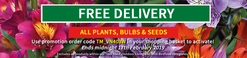 Free delivery on all plants, bulbs and seed